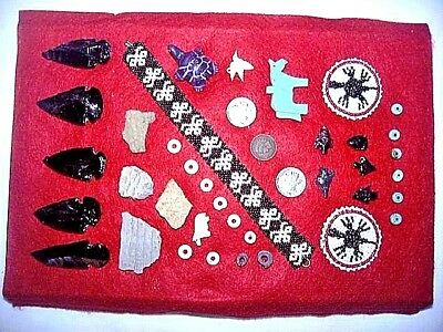 Collection of old artifacts, beads & coins