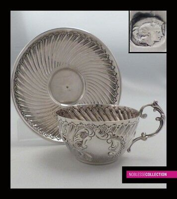 FINE  ANTIQUE 1880s FRENCH STERLING SILVER COFFEE CUP & SAUCER Rococo style