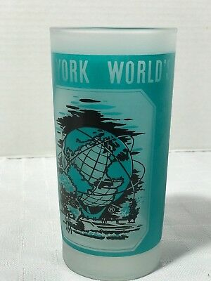 New York Worlds Fair 1964 1965 Frosted Drinking Glass Tumbler Unisphere