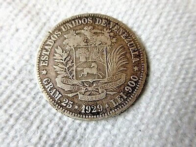 Venezuela 5 Bolivares 1929 24.4 Grams 900 Silver Fine Condition