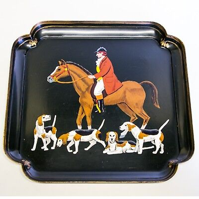 HAND PAINTED FOX HUNT TOLEWARE METAL TRAY HORSES HOUNDS Signed 1992