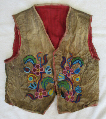 Very Nice Old Beaded On Hide Full Size Iriquois Vest--Nr!
