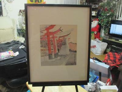 Antique Japanese Wood Block Print Of Red Gates At Heian Shrine Signed And Seal