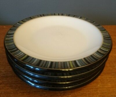 Denby Jet Stripes Black Small Side Plates x 4 Set Used GC 18.5cm England Pottery