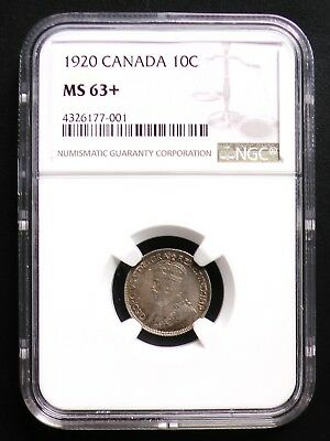 1920 Canada Silver Dime 10 Cent NGC MS63+ Graded