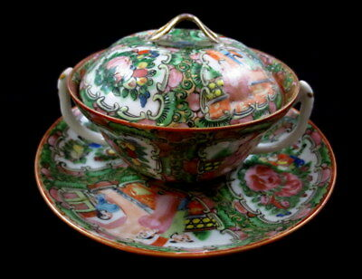Antique Chinese Rose Medallion Double Handle Soup W/ Lid & Underplate