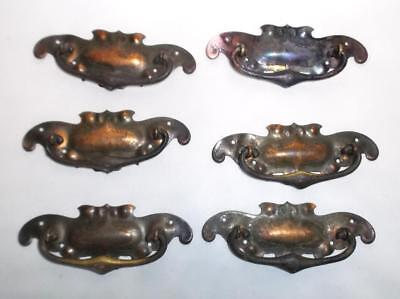 6 Art Nouveau Reclaimed Edwardian brass/Copper Plate Cabinet / drawer handles