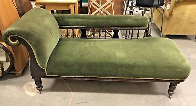Old Antique Victorian Chaise Lounge Sofa Daybed Original Casters One Missing
