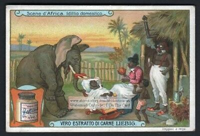 Elephant Rocking Cradle Racist African Art c1906 Trade Ad Card