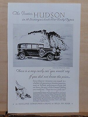 1929 magazine ad for Hudson - Greater Hudson, etching by Barker