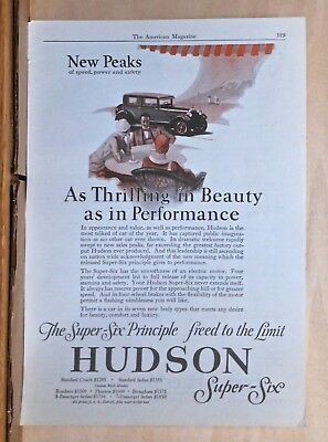 1927 magazine ad for Hudson - Thrilling in Beauty as in Performance, Super Six