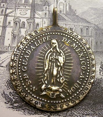 Antique Spanish Colonial Guadalupe Mexico Catholic Shrine Bronze Rosary Medal