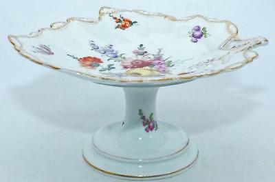 19th C DRESDEN HAND PAINTED PORCELAIN COMPOTE COMPORT DISH PLATE c1880