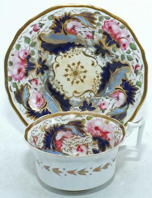 RARE NEW HALL ENGLISH GILDED TEA CUP & SAUCER c1820 PATTERN 3187