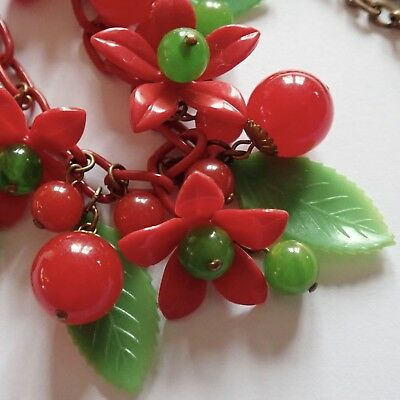 Vintage Art Deco Red Green Celluloid Bakelite Flower & Berry Necklace