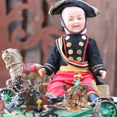 ANTIQUE SOLDIER HEUBACH BISQUE DOLL CLOSED MOUTH c1917 w ANTIQUE WOODEN HORSE