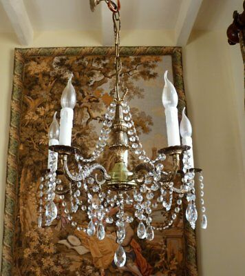 Pretty Vintage 5 Arm Brass French Rococo Crystal Chandelier Ceiling Light