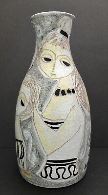 Signed Marcello Fantoni Mid-Century Modernist Ceramic Vase With Women