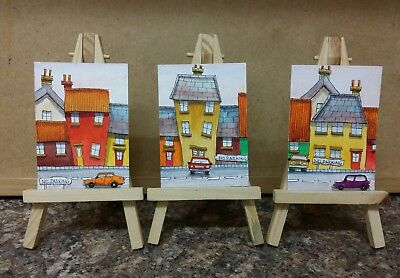 "3 x Original Watercolour Paintings ACEO "" No Parking "" by Colin Coles"