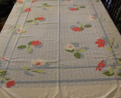 Vtg Cotton Tablecloth 59X50 Blue White Hatch Grid Green Red Flower Farm Kitchen