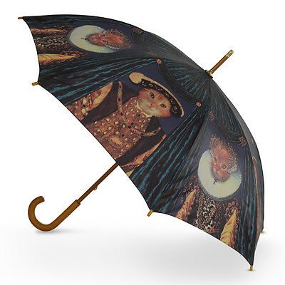 Cascada Collection Art Print Walking Umbrella with Wood Hook Handle - Royal Cats