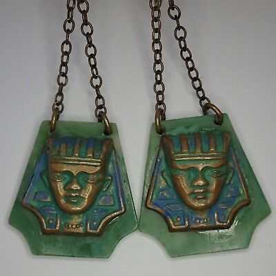 Vintage Art Deco Egyptian Revival Green Celluloid Brass Enamel Pharaoh Earrings