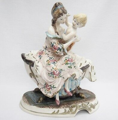 "Capodimonte Mother and Child Figurine Large 13"" Porcelain Bisque Crazing Vintage"