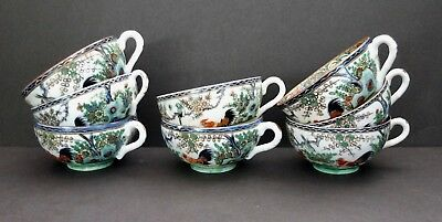 Vintage Set Of 8 Chinese Porcelain Cups With Hand Painted Rooster Pattern