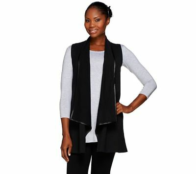 Women with Control Open Front SlvlessVest Faux Leather Trim Black S # A269620