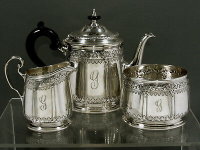 """Tiffany Sterling Silver Tea Set         MADE c1925      """" HAND DECORATED """""""