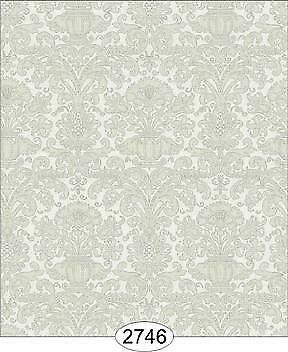2366 ANNABELLE REVERSE DAMASK GREY SILVER DOLLHOUSE WALLPAPER 1:12 SCALE