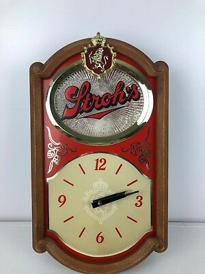 Vintage Stroh's Beer Clock Light Wall Mount Pull Cord