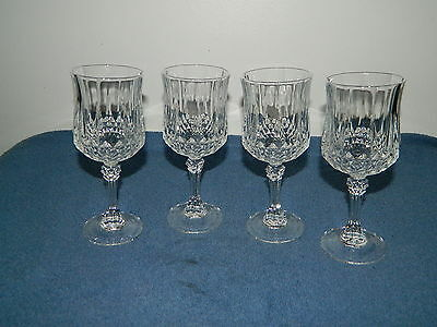 4 Cristal D'Arques Longchamp 24% Lead Crystal Wine Water Goblets Glasses