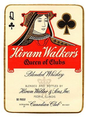 1930s HIRAM WALKER & SONS, PEORIA ILLINOIS CANADIAN QUEEN OF CLUBS WHISKEY LABEL