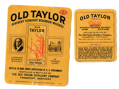1930s OLD TAYLOR DISTILLERY, FRANKFORT, KENTUCKY OLD TAYLOR WHISKEY LABEL SET