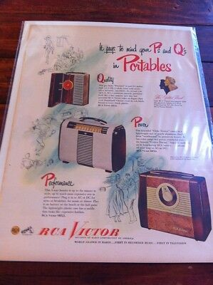 Vintage 1949 RCA Victor Radio Mind Your P's & Q's In Portables Print Art ad