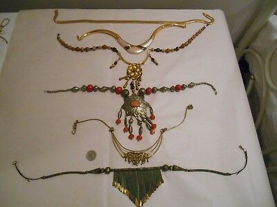 Vintage Lot Of 6 Collar Necklaces,brass,napier,omega