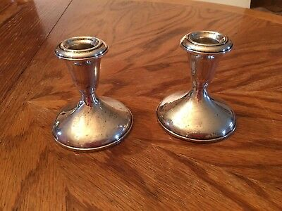 Gorgeous pair of Vintage Empire Sterling Silver Weighted Candlesticks 371