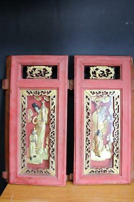 2 Old Carved And Framed Chinese Wood Panel Wall Plaques with Figure.