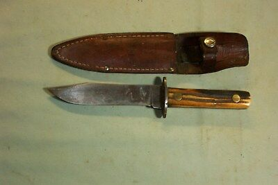 Vintage Fixed Blade Hunting Knife 4 7/8'' Blade.leather Sheath.
