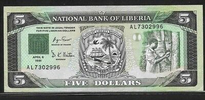 LIBERIA 1 dollar 6-4-1991 P20 AU+ arms, tapping rubber tree / bank building