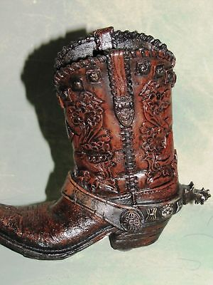 Western Cowboy Boot Resin Collectible Brown Boot leather look