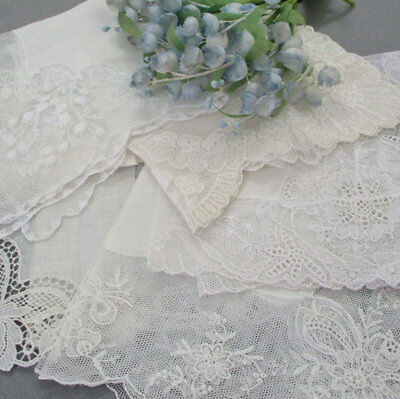 5 Vintage French LACE + Sheer Linen WEDDING Handkerchiefs Lilies of the Valley +