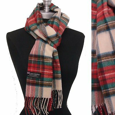 NEW 100% CASHMERE SCARF WRAP MADE IN SCOTLAND PLAID DESIGN SOFT Red/green/beige
