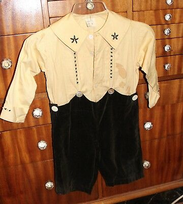 Vtg Victorian Edwardian 20's Child Embroidered Button Top Shorts Boys Antique