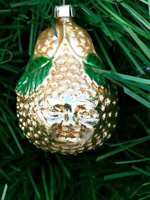 ANTIQUE AVOCADO / PEAR W/ FACE~WEST GERMANY  Glass Christmas Tree Ornament