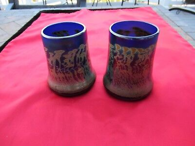 Vintage (2) Colbolt Blue Iridescent Art glass Vases