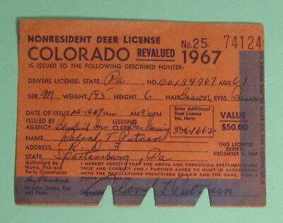 1967 Colorado NR Game & Fish Dept Big Game Hunting License Tag...Free Shipping!