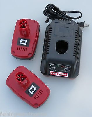 ( 2 ) NEW Craftsman 19.2 Volt C3 Compact Lithium-Ion Batteries w/ Charger