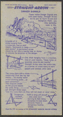 Nabisco Straight Arrow Danger Signals Card #22 Book 1 1949